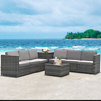 8PCS Outdoor Wicker Rattan Furniture Set Cushioned Sectional Sofa Outdoor Table