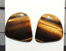 Tiger's Eye 21x19mm with 3.5mm dome Cabochons Set of 2 From Africa (10052)