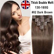 "Thick Clip In Real Remy Human Hair Extentions Full Head 16""-22"" Double Weft UK"