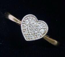 9ct Gold & Diamond Milgrain Heart Ring, Size P