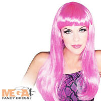 Hot Pink Glamour Wig Ladies Fancy Dress Fun Celebrity Adults Costume Accessory