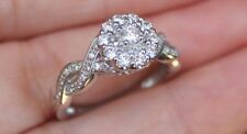 New Keepsake 14K S7 5/8ct Natural Diamond Flower Halo Engagement Ring White Gold