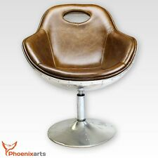 Vintage Real Leather Swivel Chair Armchair Retro Brown Bucket Seat 703