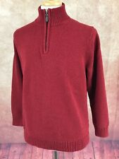 LL Bean 287737 Pullover 1/2 Zip 100% Heavy Cotton Red Sweater Men's L Tall