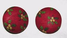1950'S XMAS CRAFTS, HAND MADE FABRIC COVERED HOLLY BERRY VTG CLIP EARRINGS