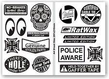 A4 Sheet Of B&W Retro Ratlook Set of 15 Vinyl Car Camper Van Dub sticker Decals