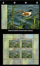 Alberta #10 2005 Northern Shoveler Conservation Stamp Mini Sheet In Folder Nh