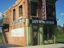 O Scale Gauge Structure Building Kit Downtown Deco Luci's Tattoo + Bonus Kit!