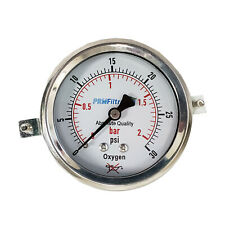 "PRM Pressure Gauge 0-30 PSI 0-2 BAR  2.5"" SS Case & Internals for Oxygen Use"