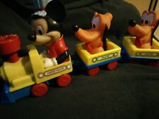 Vintage Disney Mickey Mouse and Pluto Baby Wind Up Toy Train 1980s working