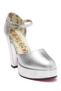 NIB Gucci Women's Metallic Leather Agon Ankle Strap Platform Pump Silver