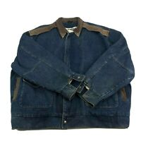 Vintage 90s Denim Leather Western Jacket Mens Size 3XL Brass Collar W American