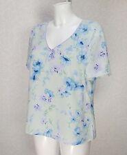 JACQUES VERT Pastel Verde Azul Floral de gasa cuello en V manga corta Blusa Top 14