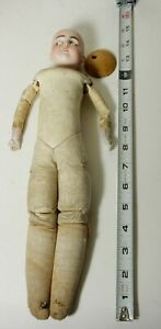 ANTIQUE GERMAN No 2 LEATHER BODY BISQUE DOLL