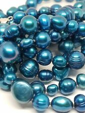 """Honora Blue Pearls Long Necklace Sterling Silver Clasp 48"""""""