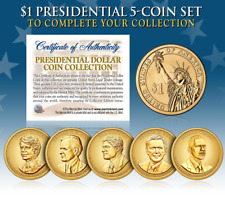 LIVING PRESIDENTS 2016 Presidential Dollar Color GOLDEN HUE 5-Coin Set *MUST SEE
