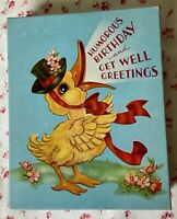 Vintage Early Mid Century Anthropomorphic Yellow Duck Empty Greeting Card Box