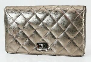 Authentic CHANEL Gold Quilted Leather CC Long Wallet Coin Purse #40487