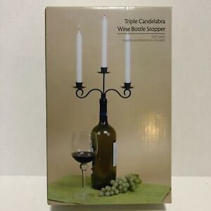 Triple Candelabra Wine Bottle Stopper Metal Scroll Antique Bronze Finish NEW