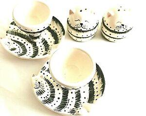 Eierbecher & Salz-& Pfefferstreuer von Seyko  Keramik Katze
