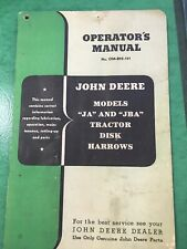 VINTAGE JOHN DEERE OPERATORS  MANUAL Model JA And JBA Tractor Disk Harrows