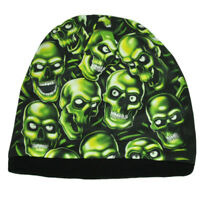 Green Skull Skeleton Dead Scary Sublimated Knit Beanie Cuffless Toque Hat Skully