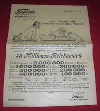 preuß.klassen lotterie  1925 werbung reklame los bestell karte dachbodenfund alt