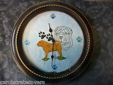 Shar Pei 12 inch Embroidered Clock Handmade Glass Quartz ONE OF A KIND