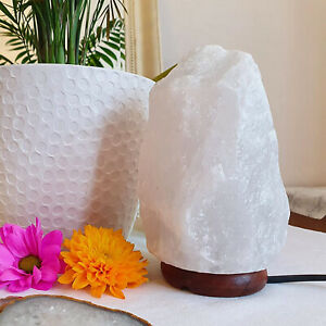 Himalayan Crystal White Salt Lamp Night Light Natural Ionizer With Bulb & Plug
