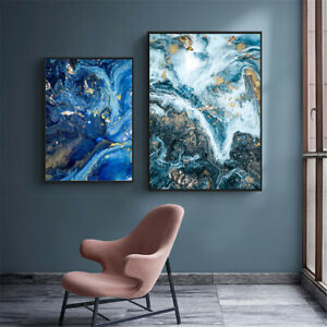 Dark Blue Fluid Abstract Painting Canvas Modern Art Poster Picture Home Decor