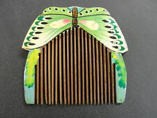 Vintage Hand Painted Wooden Butterfly Small Hair Brush Comb Made in China Bug