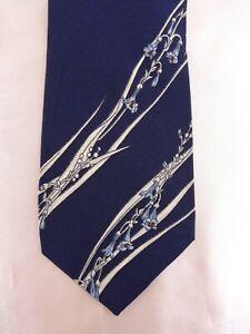 Schmale Krawatte von SEIDENFALTER, Grundfarbe Dunkel-Blau, 100% Seide