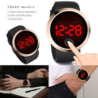 Men's LED Touch Screen Digital Day Date Silicone Strap Wrist Watch Waterproof