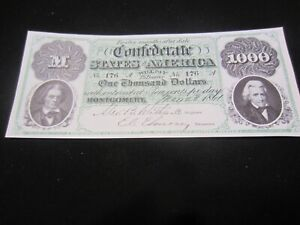 Copy Of 1861 $1000 Confederate States of America Bill #1