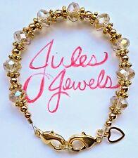 Crystal Rondelle Golden Champagne Medical ID Alert Bracelet. GOLD!