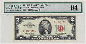 1963 $2 LEGAL TENDER RED SEAL FR-1513 Granahan Dillon ((PMG 64 Choice UNC))