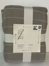 Nate Berkus Blanket Full Queen Size Gray Striped $40 New Tag