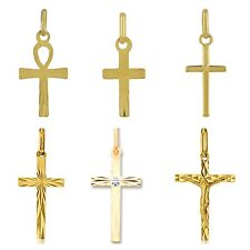 Pendentif croix en or massif 18 carats 750/1000 plusieurs styles