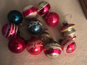 LOT 12 Vintage Glass Ornaments Assorted Shapes Sizes Colors