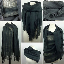 Grunge Hobo Frayed Scarf By Crafted | Large Ladies Grey Woven Shawl | NEXT DAY