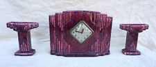 French Art Deco Garniture Mantle Clock Set 3pcs Faience Odivy 1930