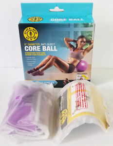 """GOLD'S GYM 9"""" diameter anti burst CORE BALL with exercise chart"""