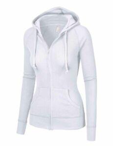 Women's Hoodie Long Sleeve Thermal Waffle Knit Full Zip Sweatshirt Jacket Hood