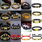 Feng Shui Black Obsidian Wealth Pixiu Bracelet Lucky Beads Golden Wirstband Gift