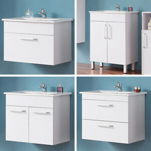 Badmöbel Set 60 cm Waschtisch mit Unterschrank hängeschrank Standschrank Weiß