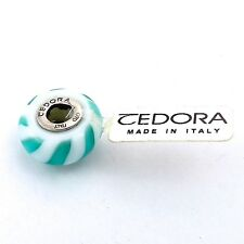 TEDORA STERLING SILVER WHITE & TEAL BLUE STRIPES MURANO GLASS BEAD CHARM NEW