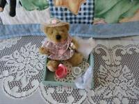 Bear Tea Party in Wooden Box Handmade