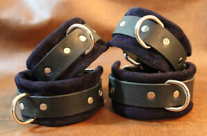 6 pc suede leather wrist ankle cuffs hogtie black