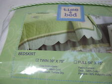 TIME 4 BED TWIN BEDSKIRT BUTTERFLY GARDEN Collection - Sage Green and Yellow NEW