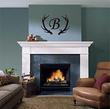 Deer Antlers and Monogram Initial Wall Sticker Wall Art Decor Vinyl Decal 18x24